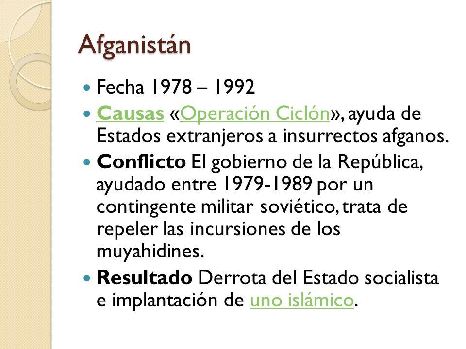 Afganistán Fecha 1978 – 1992. Causas «Operación Ciclón», ayuda de Estados extranjeros a insurrectos afganos.