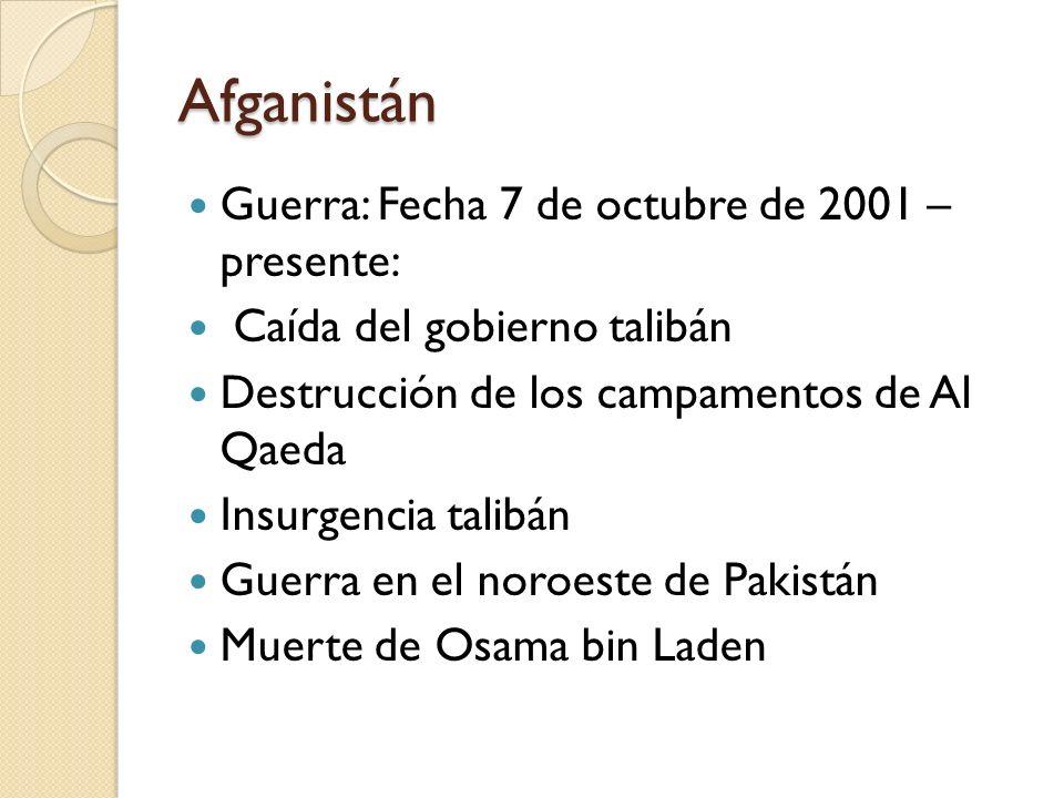 Afganistán Guerra: Fecha 7 de octubre de 2001 – presente:
