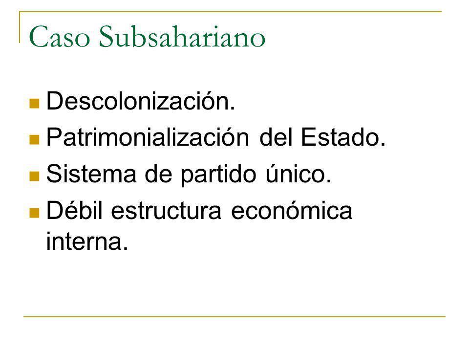 Caso Subsahariano Descolonización. Patrimonialización del Estado.
