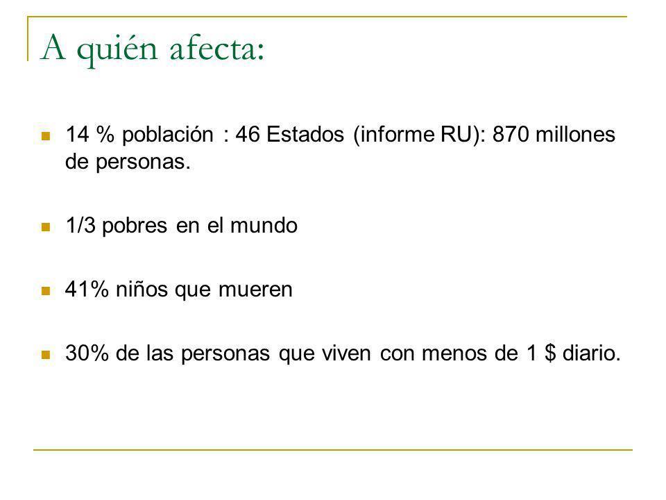 A quién afecta: 14 % población : 46 Estados (informe RU): 870 millones de personas. 1/3 pobres en el mundo.