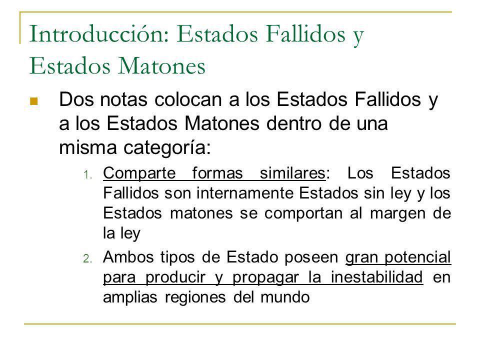 Introducción: Estados Fallidos y Estados Matones