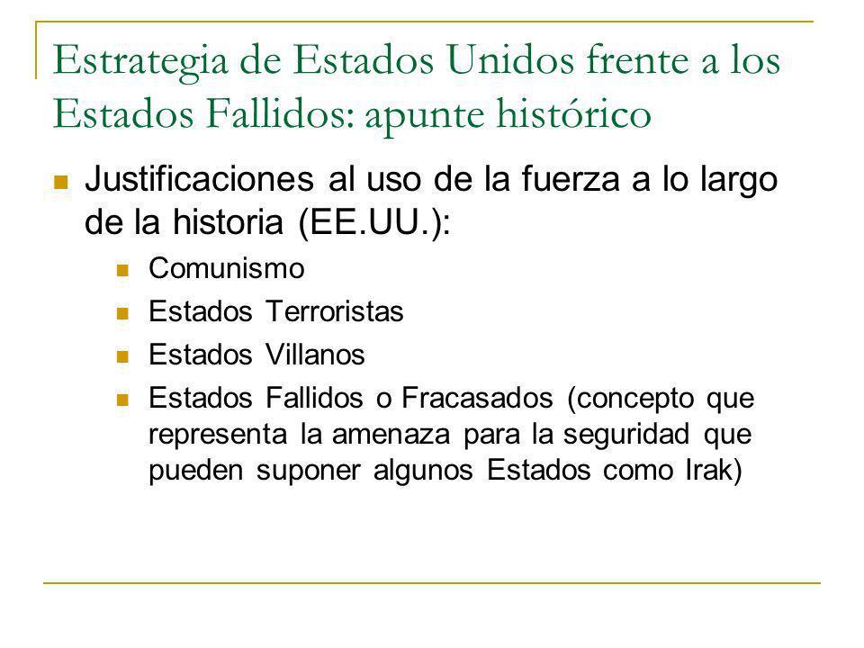 Estrategia de Estados Unidos frente a los Estados Fallidos: apunte histórico