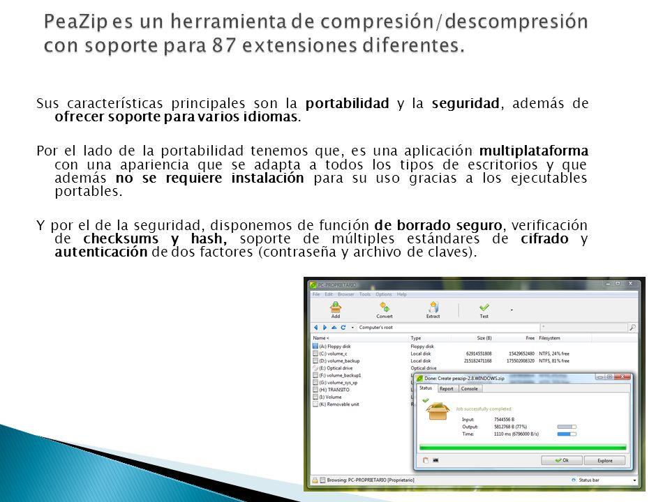 PeaZip es un herramienta de compresión/descompresión con soporte para 87 extensiones diferentes.