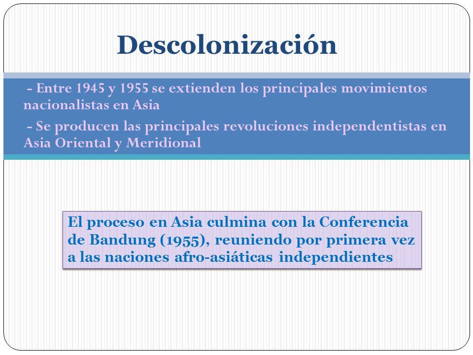 Descolonización - Entre 1945 y 1955 se extienden los principales movimientos nacionalistas en Asia.