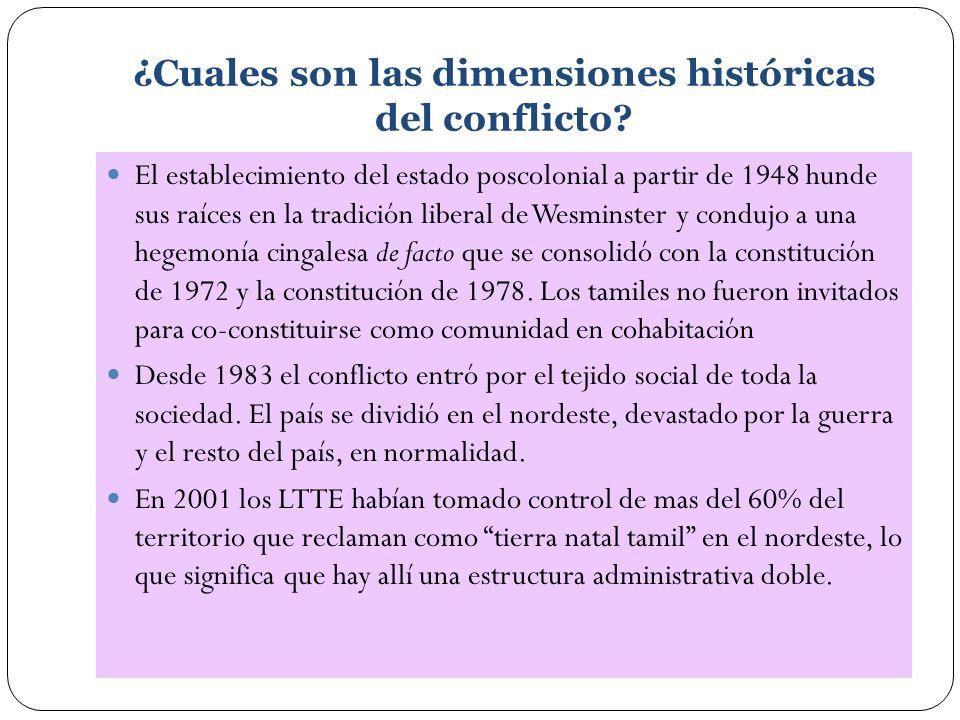 ¿Cuales son las dimensiones históricas del conflicto