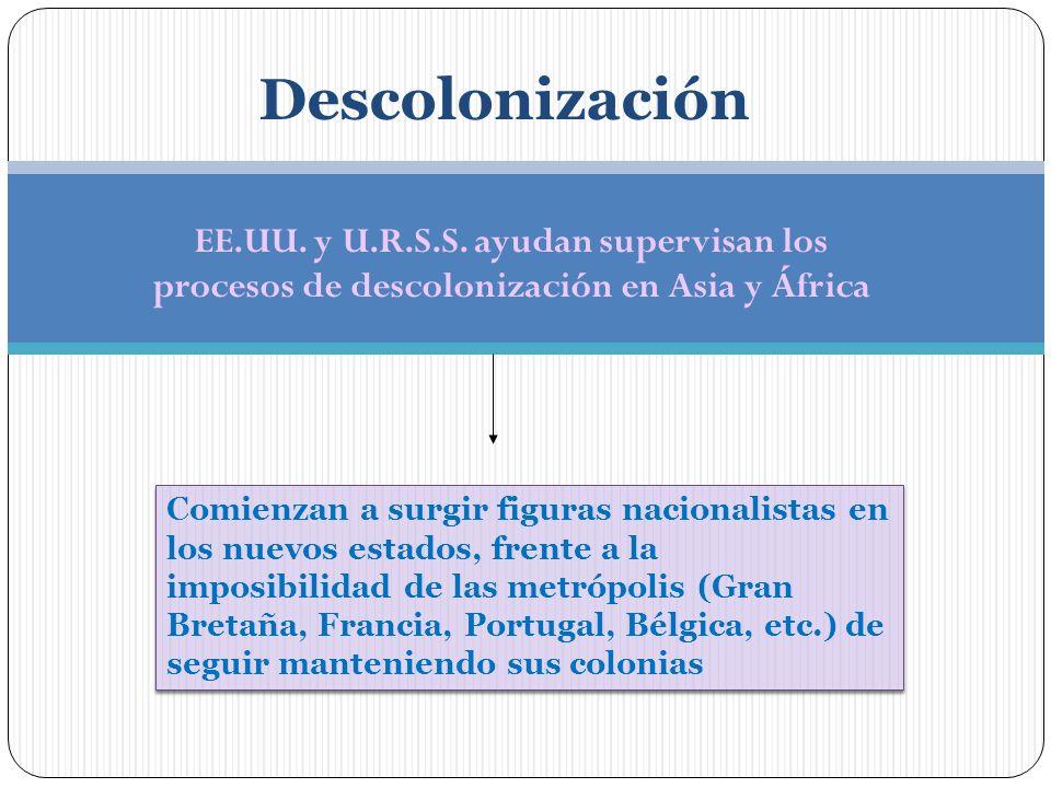 Descolonización EE.UU. y U.R.S.S. ayudan supervisan los procesos de descolonización en Asia y África.