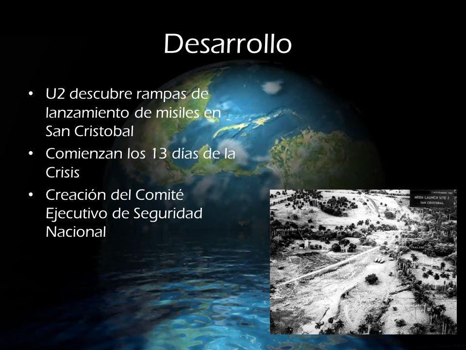 Desarrollo U2 descubre rampas de lanzamiento de misiles en San Cristobal. Comienzan los 13 días de la Crisis.