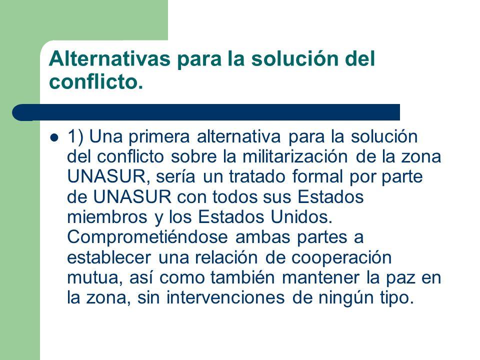 Alternativas para la solución del conflicto.