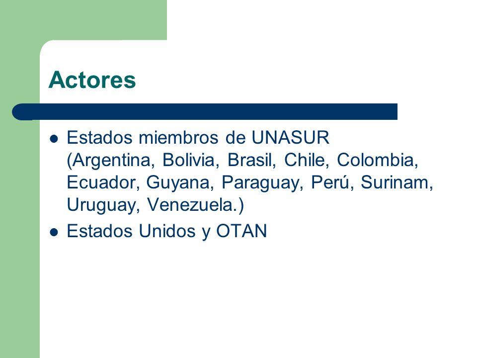 Actores Estados miembros de UNASUR (Argentina, Bolivia, Brasil, Chile, Colombia, Ecuador, Guyana, Paraguay, Perú, Surinam, Uruguay, Venezuela.)
