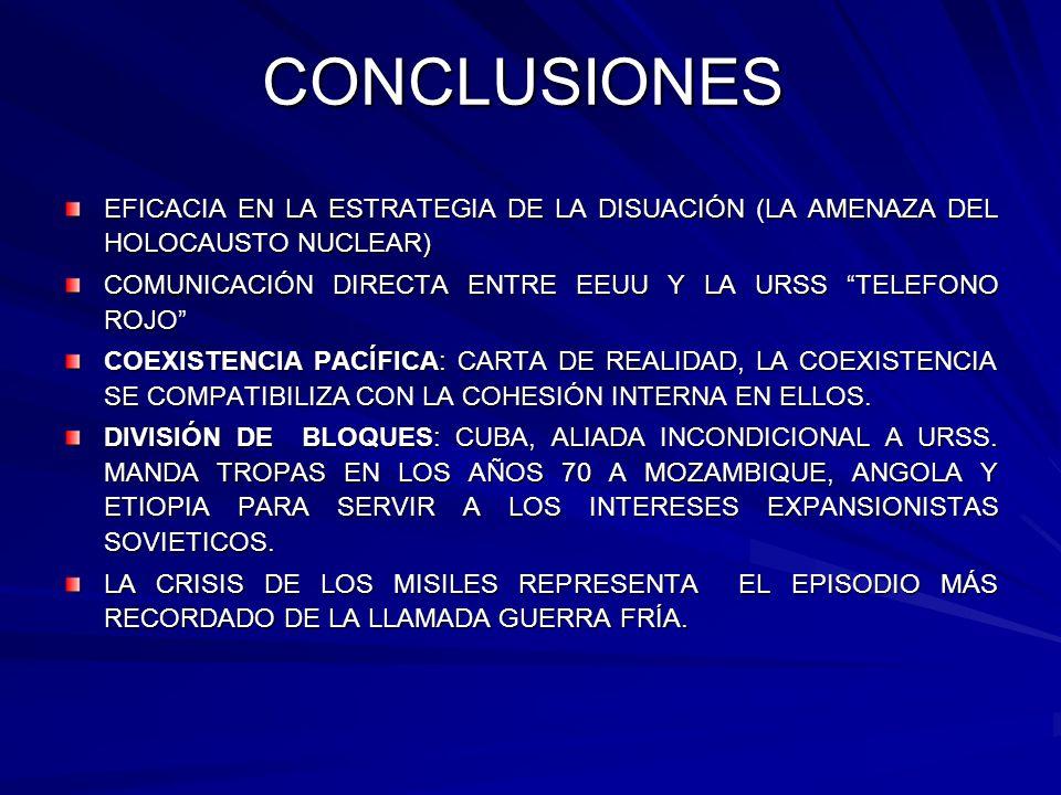 CONCLUSIONES EFICACIA EN LA ESTRATEGIA DE LA DISUACIÓN (LA AMENAZA DEL HOLOCAUSTO NUCLEAR) COMUNICACIÓN DIRECTA ENTRE EEUU Y LA URSS TELEFONO ROJO