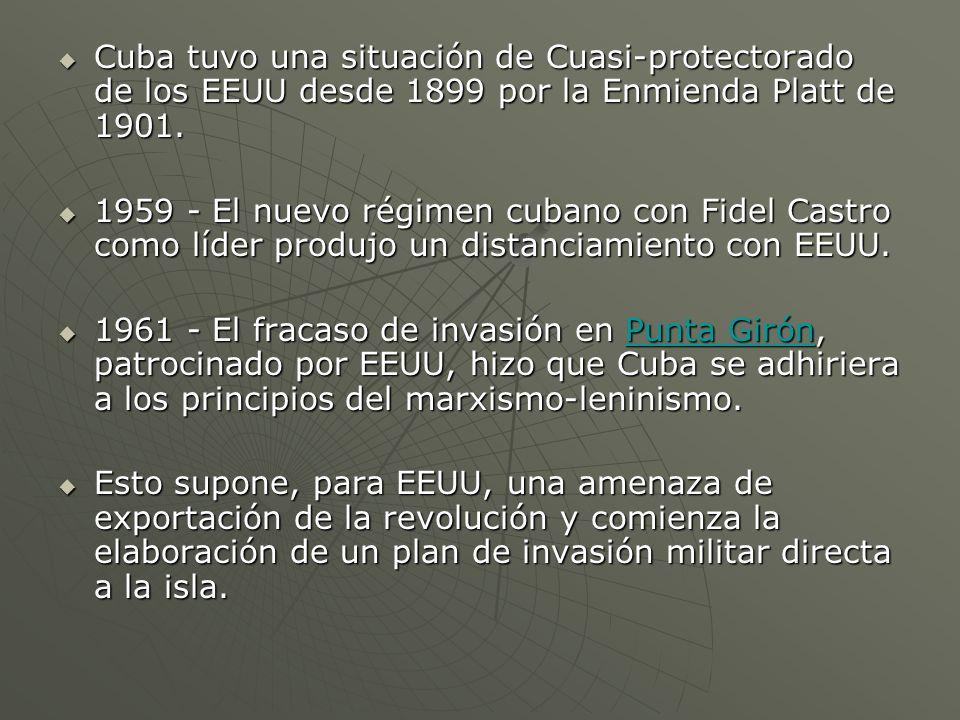 Cuba tuvo una situación de Cuasi-protectorado de los EEUU desde 1899 por la Enmienda Platt de 1901.