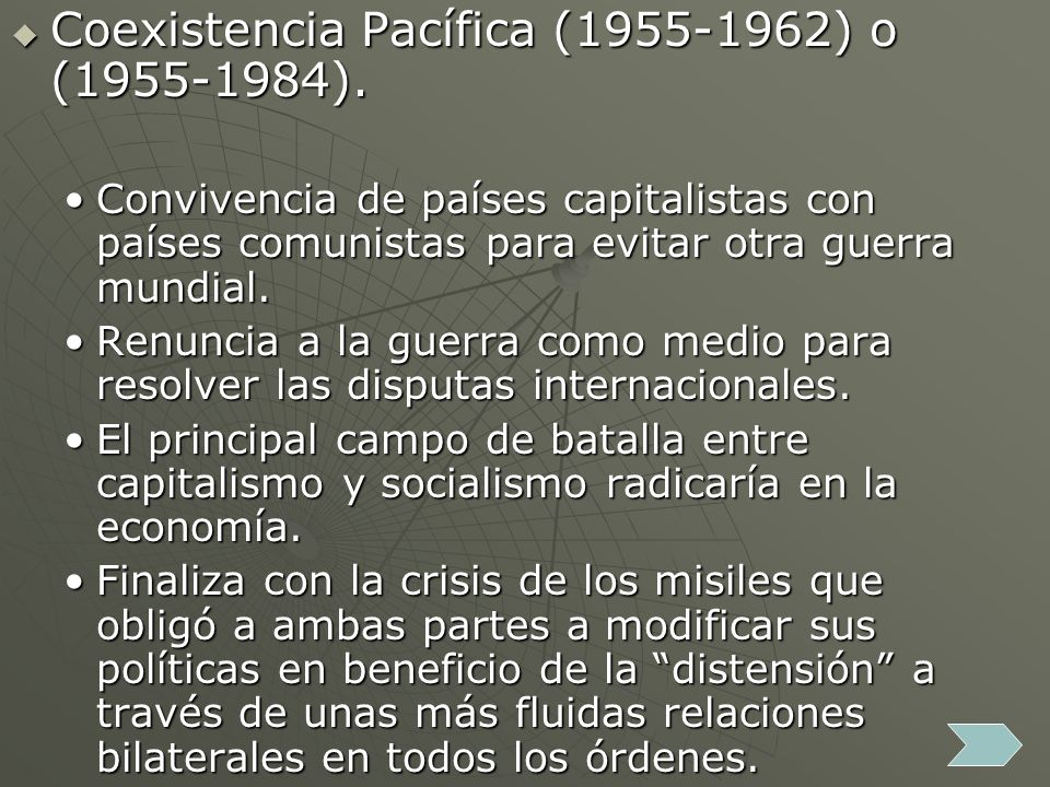 Coexistencia Pacífica (1955-1962) o (1955-1984).