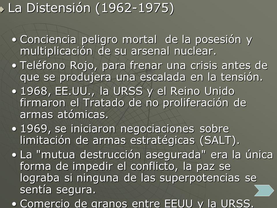 La Distensión (1962-1975) Conciencia peligro mortal de la posesión y multiplicación de su arsenal nuclear.