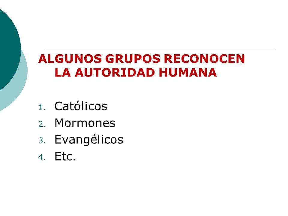 ALGUNOS GRUPOS RECONOCEN LA AUTORIDAD HUMANA