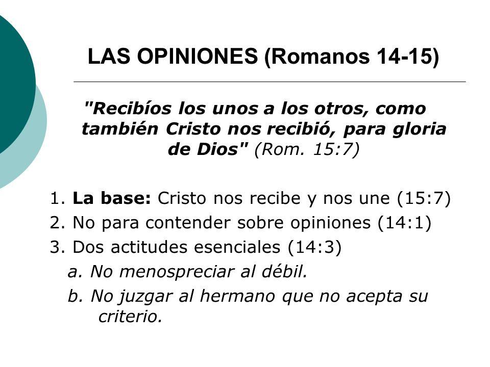 LAS OPINIONES (Romanos 14-15)