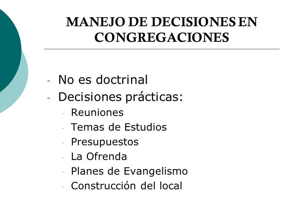 MANEJO DE DECISIONES EN CONGREGACIONES