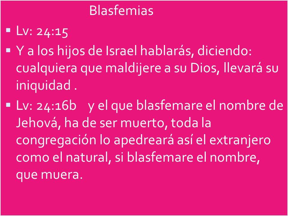 Blasfemias Lv: 24:15. Y a los hijos de Israel hablarás, diciendo: cualquiera que maldijere a su Dios, llevará su iniquidad .