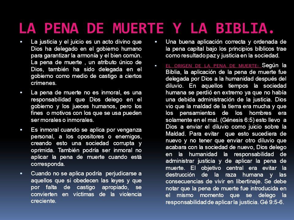 LA PENA DE MUERTE Y LA BIBLIA.