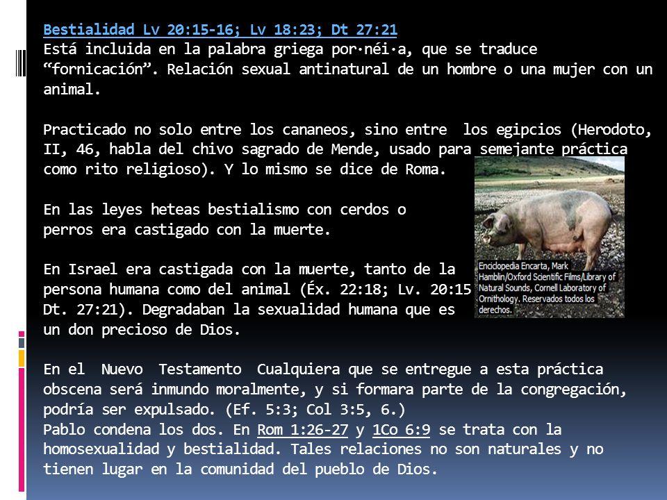 Bestialidad Lv 20:15-16; Lv 18:23; Dt 27:21 Está incluida en la palabra griega por·néi·a, que se traduce fornicación .