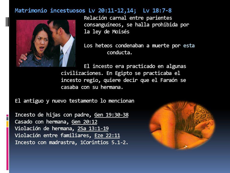 Matrimonio incestuosos Lv 20:11-12,14; Lv 18:7-8