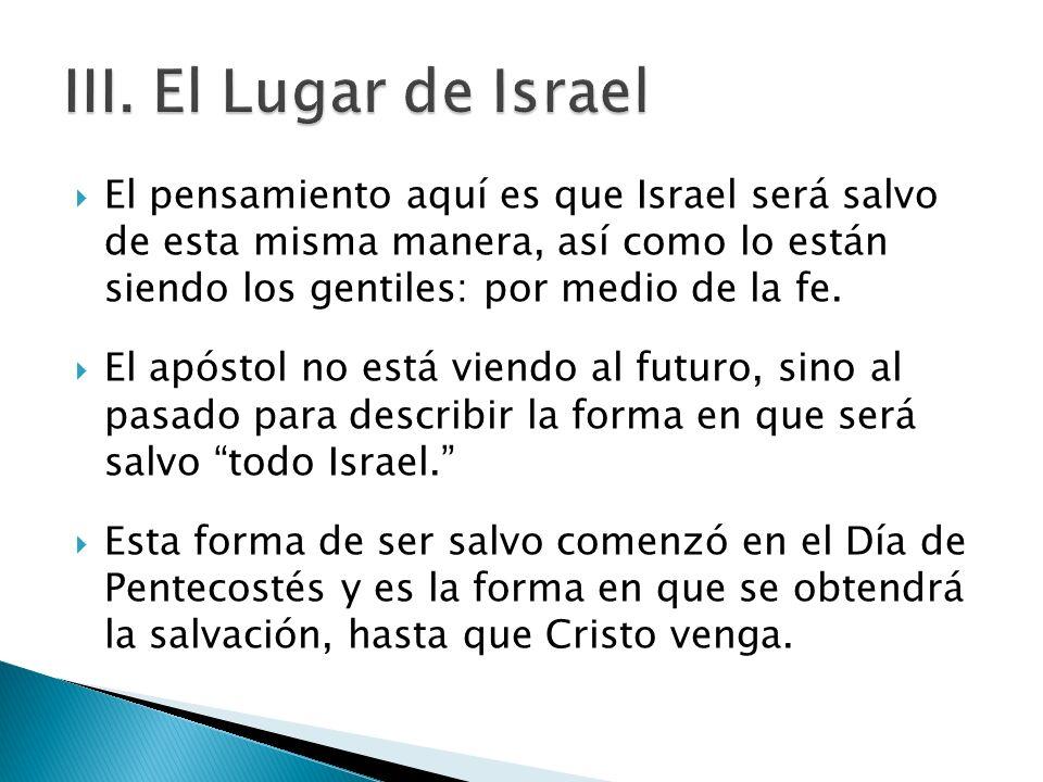 III. El Lugar de Israel