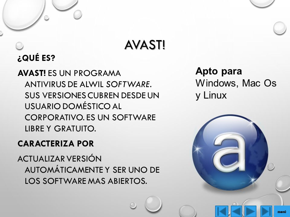 Avast! Apto para Windows, Mac Os y Linux