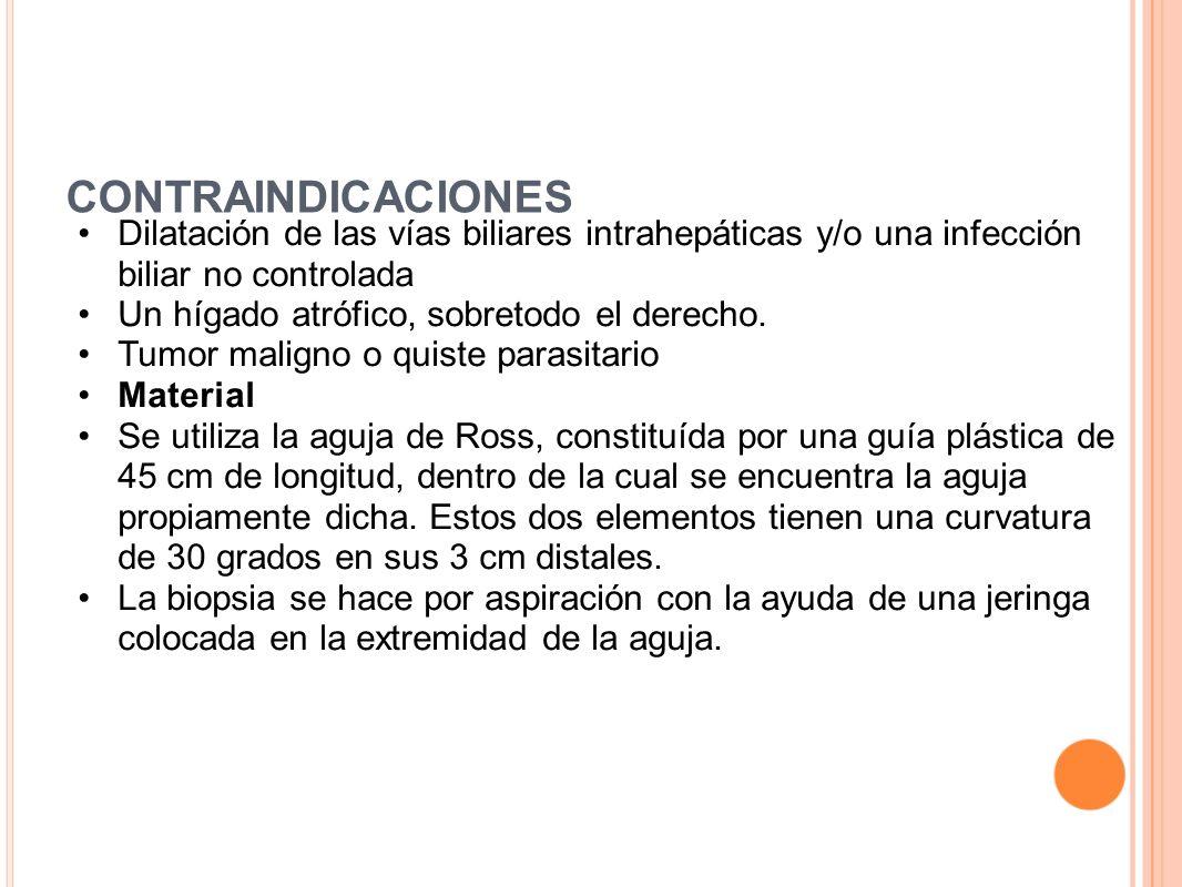 CONTRAINDICACIONES Dilatación de las vías biliares intrahepáticas y/o una infección biliar no controlada.