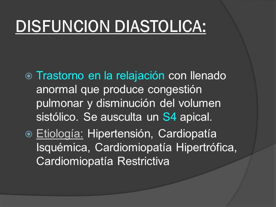 DISFUNCION DIASTOLICA:
