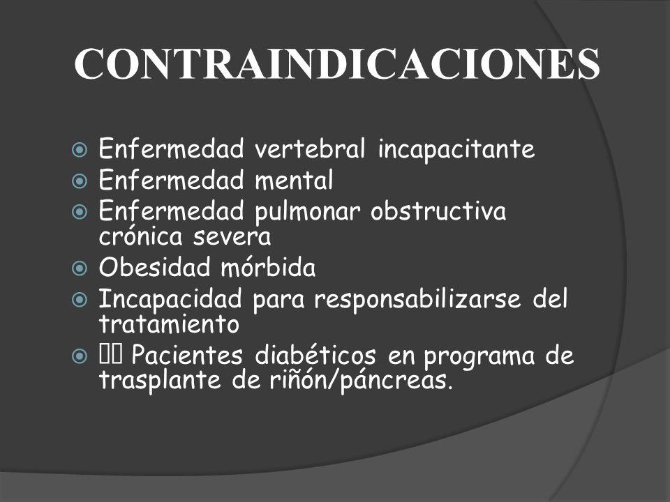 CONTRAINDICACIONES Enfermedad vertebral incapacitante