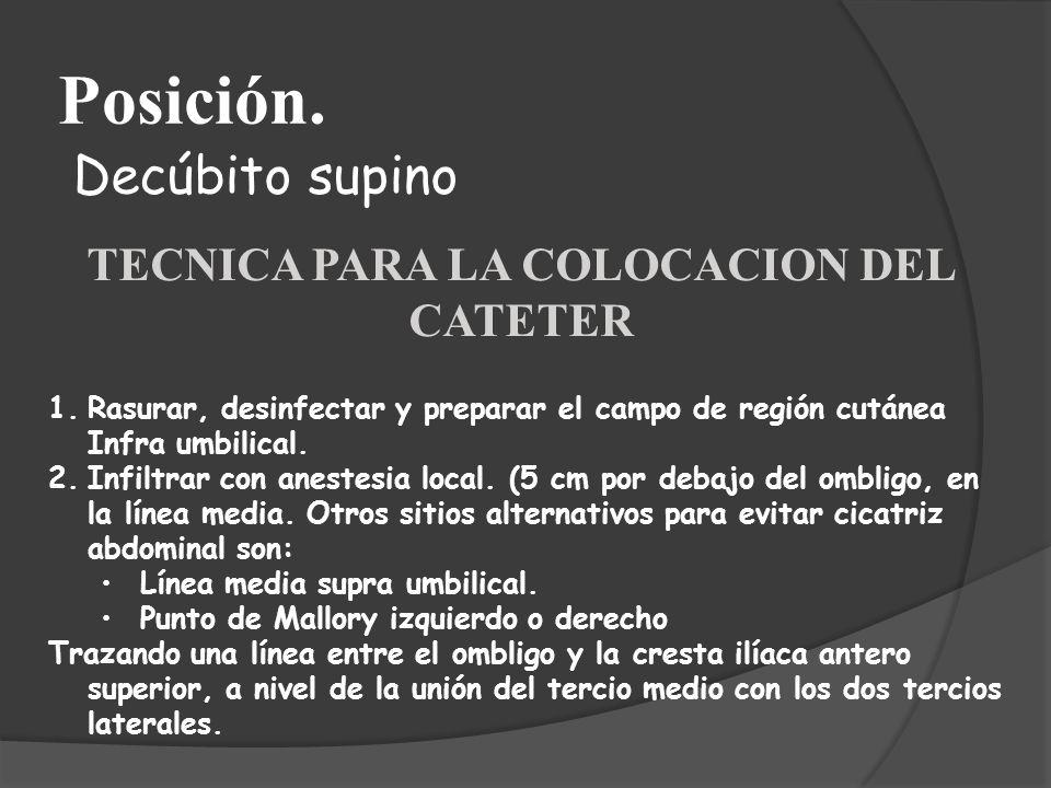TECNICA PARA LA COLOCACION DEL CATETER