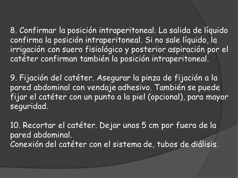 8. Confirmar la posición intraperitoneal