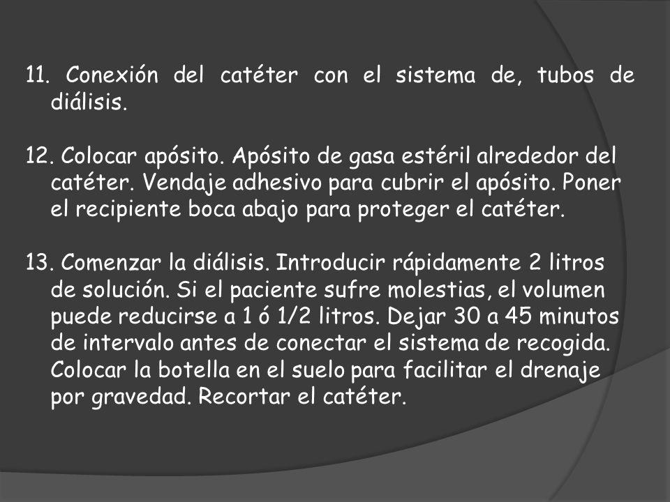 11. Conexión del catéter con el sistema de, tubos de diálisis.