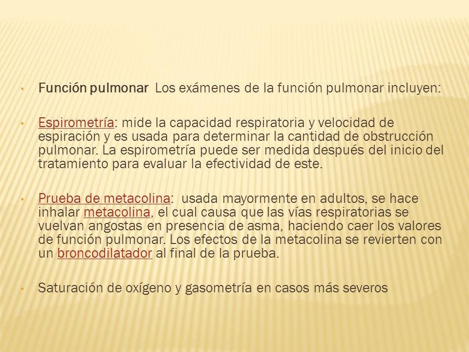 Función pulmonar Los exámenes de la función pulmonar incluyen: