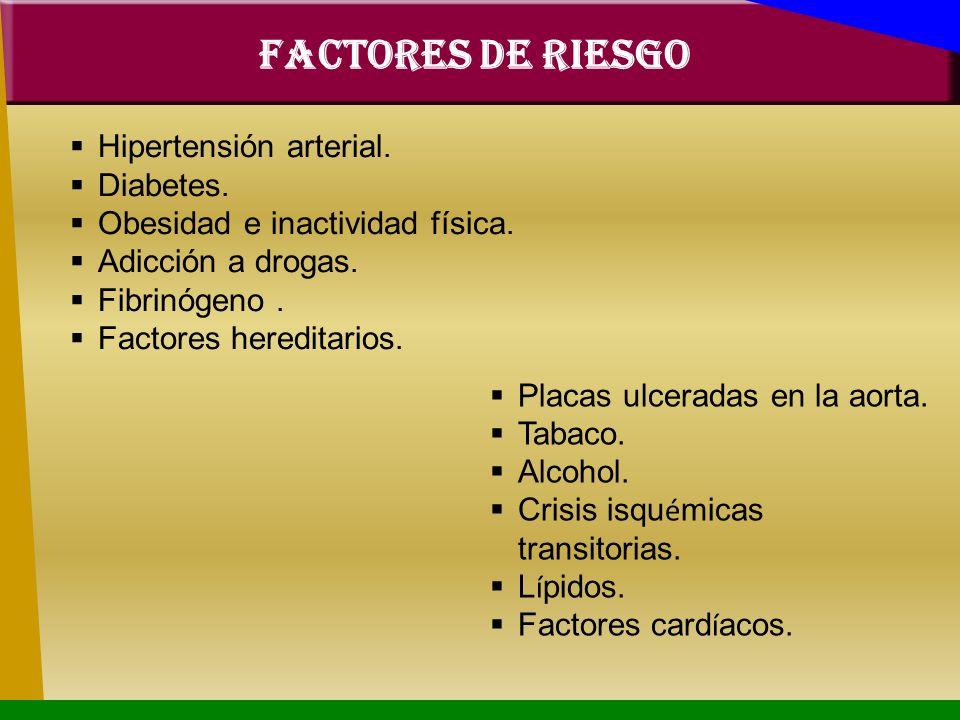 FACTORES DE RIESGO Hipertensión arterial. Diabetes.