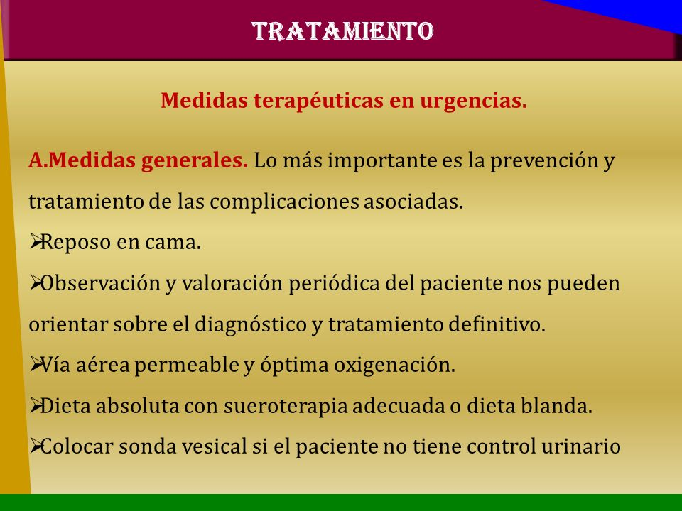 Medidas terapéuticas en urgencias.