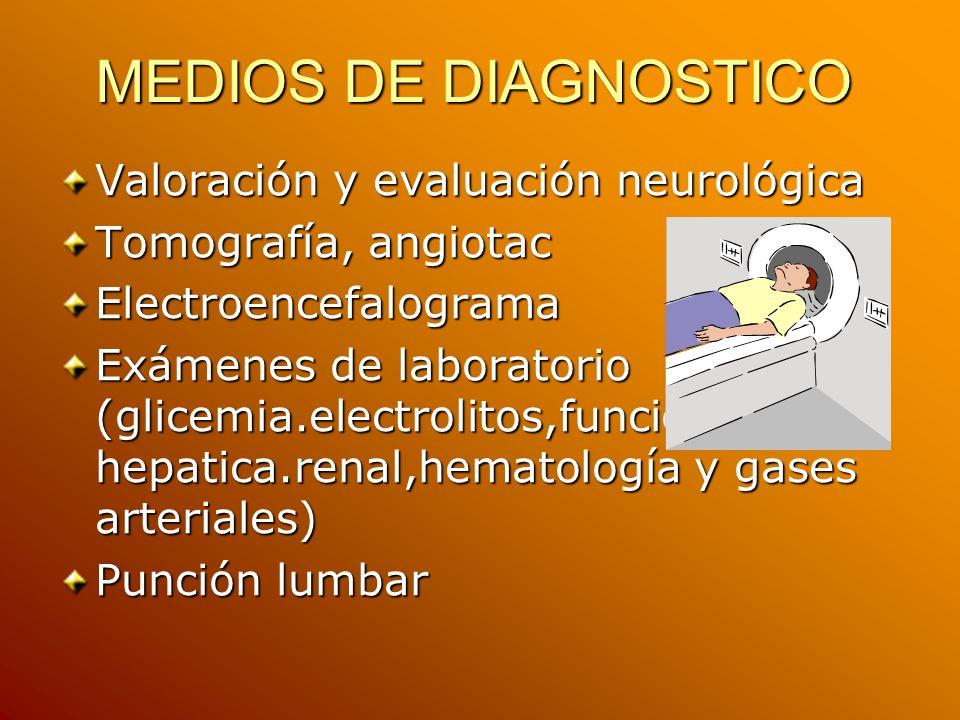 MEDIOS DE DIAGNOSTICO Valoración y evaluación neurológica