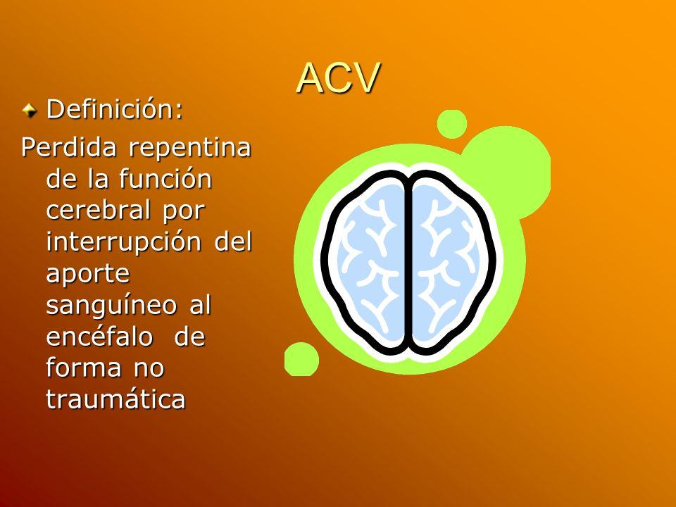 ACV Definición: Perdida repentina de la función cerebral por interrupción del aporte sanguíneo al encéfalo de forma no traumática.