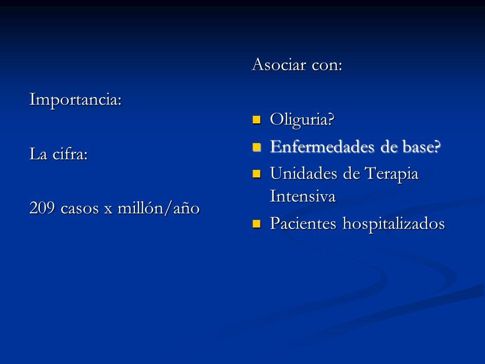 Asociar con: Oliguria Enfermedades de base Unidades de Terapia Intensiva. Pacientes hospitalizados.
