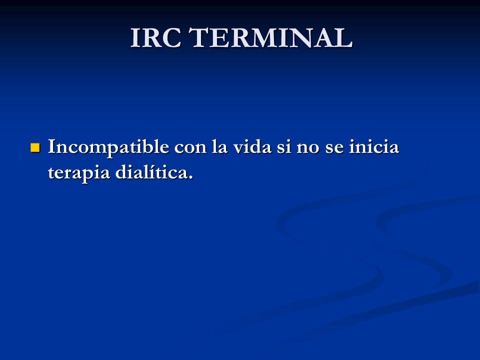 IRC TERMINAL Incompatible con la vida si no se inicia terapia dialítica.