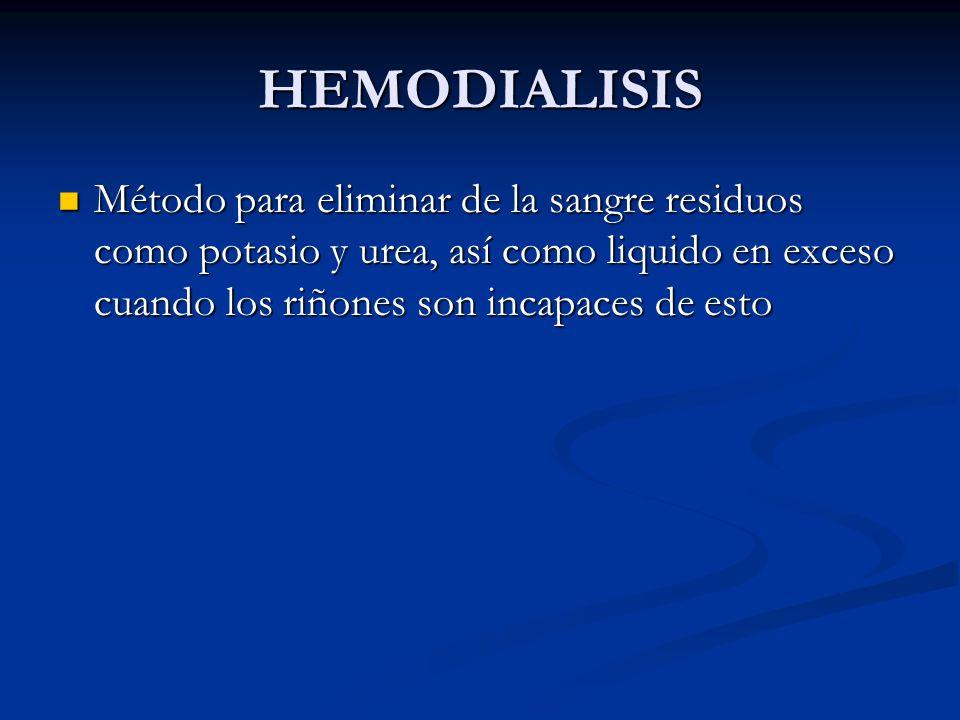 HEMODIALISISMétodo para eliminar de la sangre residuos como potasio y urea, así como liquido en exceso cuando los riñones son incapaces de esto.