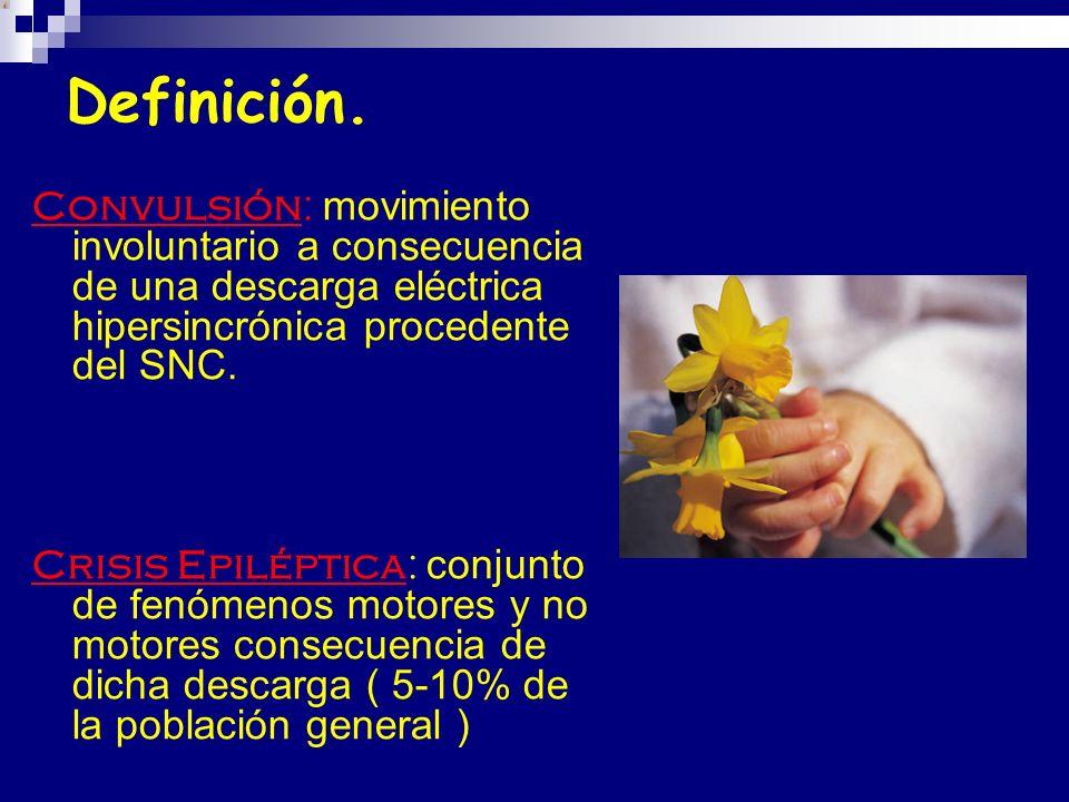 Definición. Convulsión: movimiento involuntario a consecuencia de una descarga eléctrica hipersincrónica procedente del SNC.
