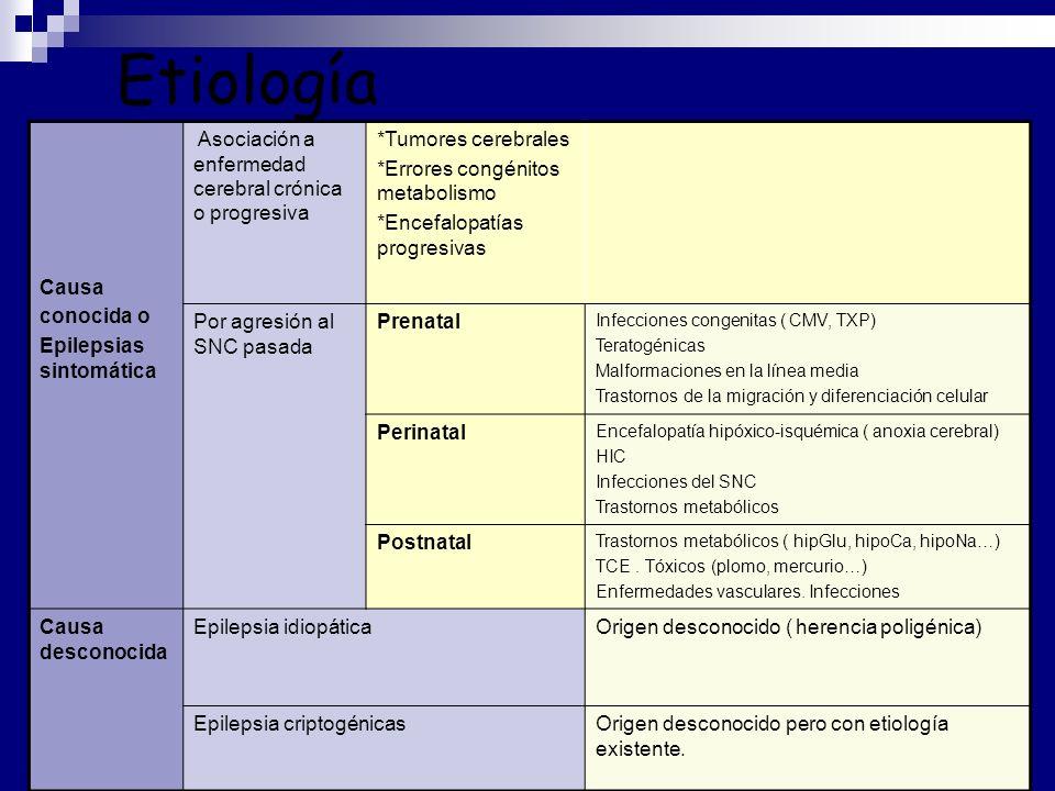 Etiología Causa conocida o Epilepsias sintomática