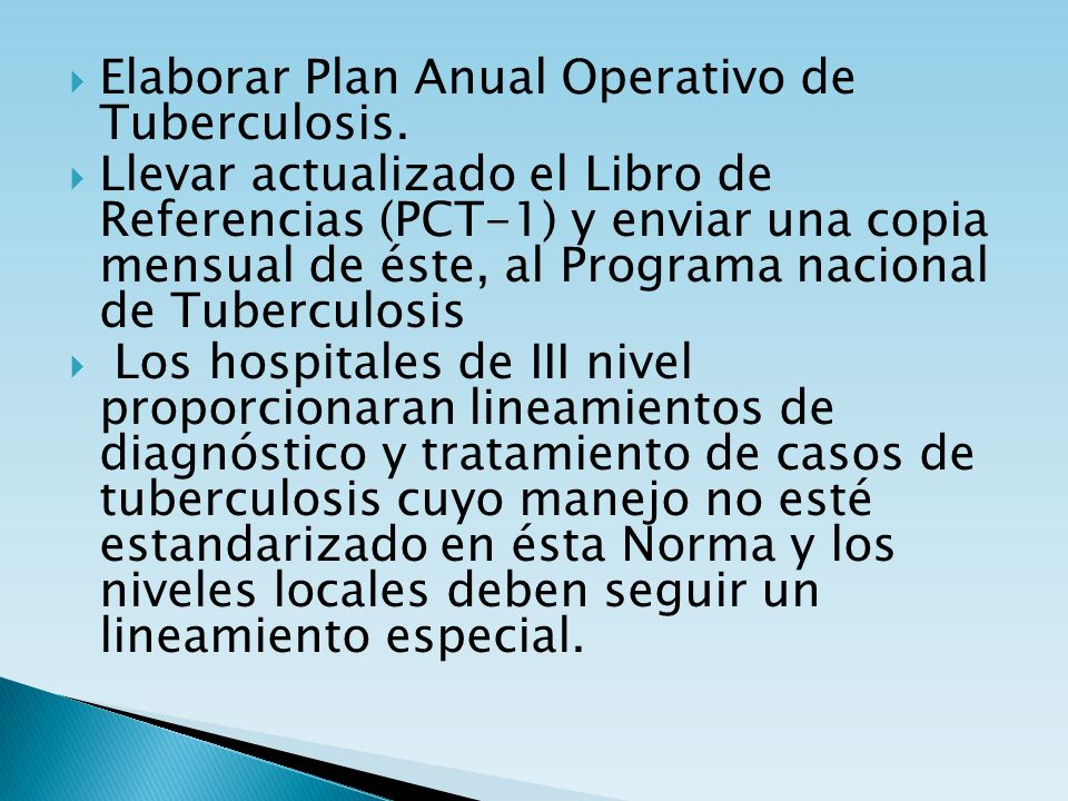 Elaborar Plan Anual Operativo de Tuberculosis.