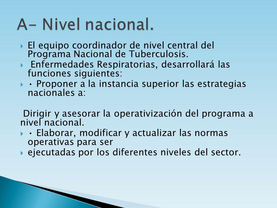 A- Nivel nacional.El equipo coordinador de nivel central del Programa Nacional de Tuberculosis.