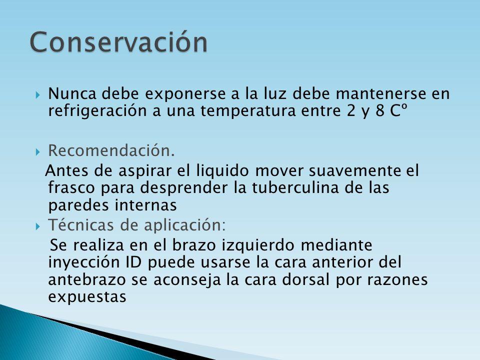 Conservación Nunca debe exponerse a la luz debe mantenerse en refrigeración a una temperatura entre 2 y 8 Cº.