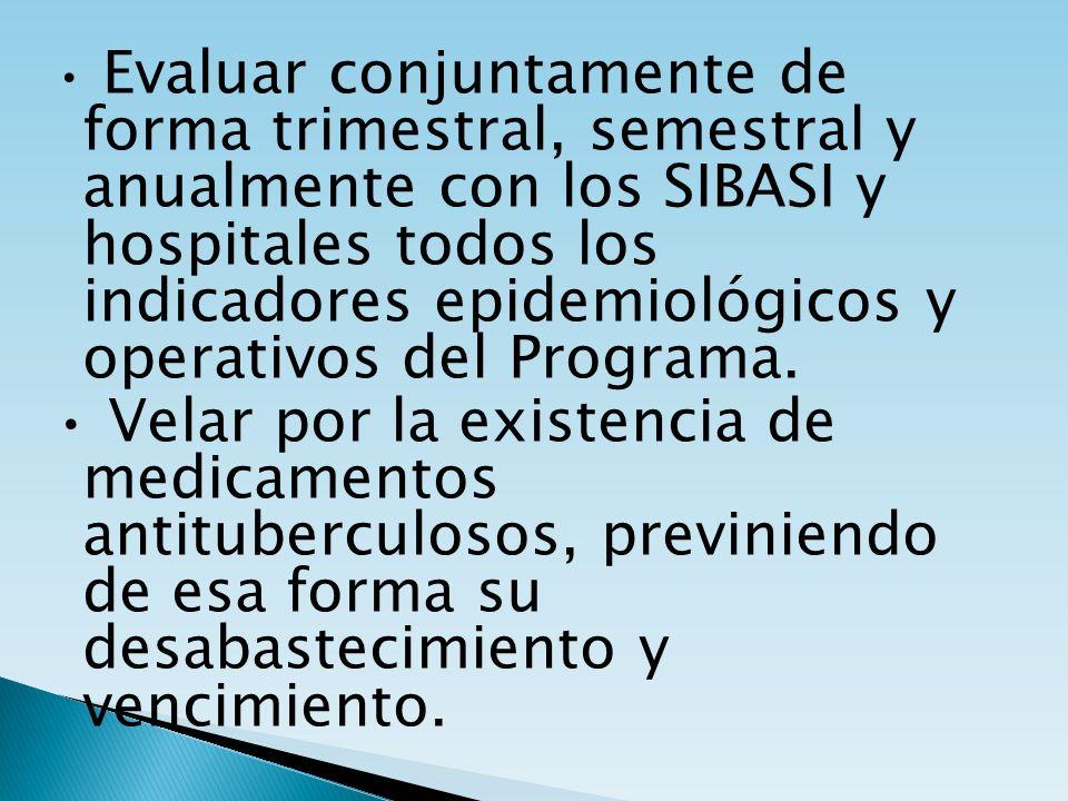 • Evaluar conjuntamente de forma trimestral, semestral y anualmente con los SIBASI y hospitales todos los indicadores epidemiológicos y operativos del Programa.