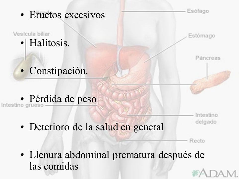 Eructos excesivosHalitosis.Constipación. Pérdida de peso.