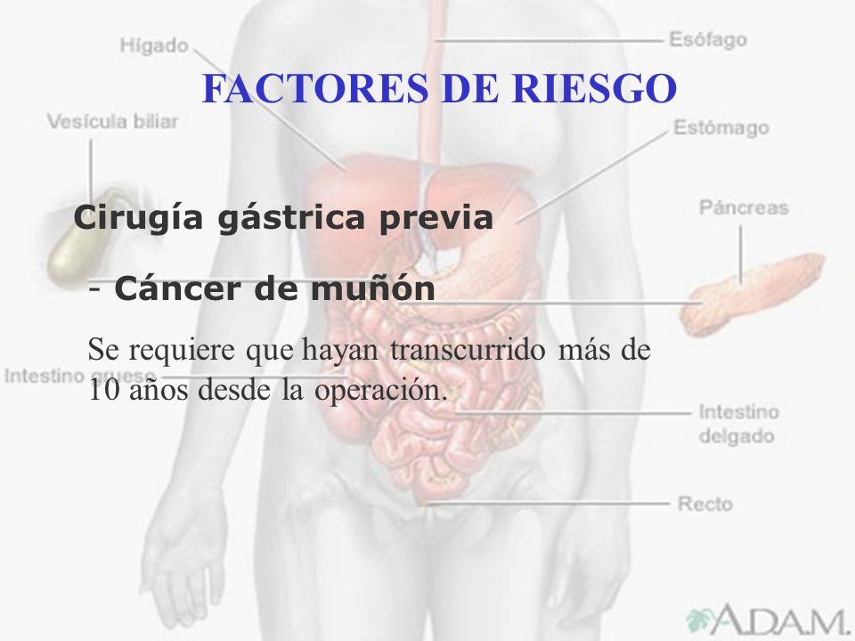 FACTORES DE RIESGO Cirugía gástrica previa Cáncer de muñón