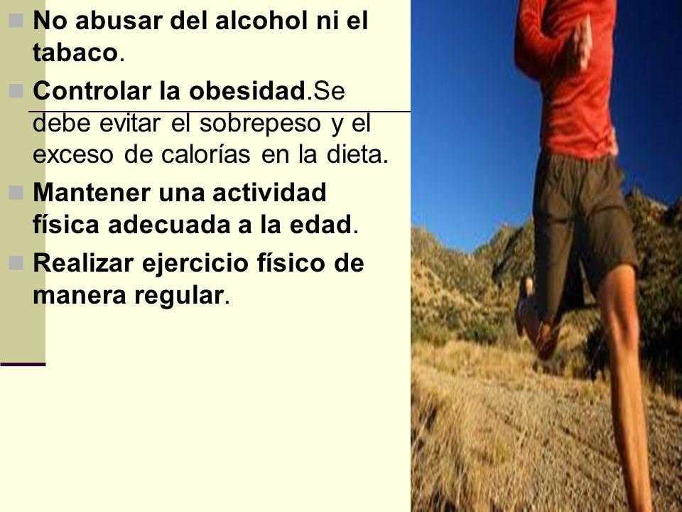 No abusar del alcohol ni el tabaco.
