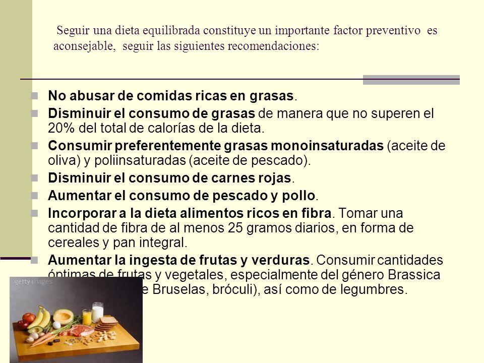 No abusar de comidas ricas en grasas.